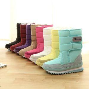 Atacado Moda da neve do inverno botas flat calcanhar botas de neve deslizamento na plataforma Calçados Mid Calf Aqueça pelúcia mulheres botas botas mujer