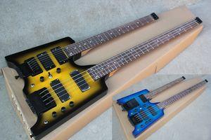 Fabrik Benutzerdefinierte Double Neck YellowBlue elektrische Gitarre mit 6 + 4 Strings Bass, Headless, Schwarze Hardware, Flamme Ahornfurnier, Angebote Customized