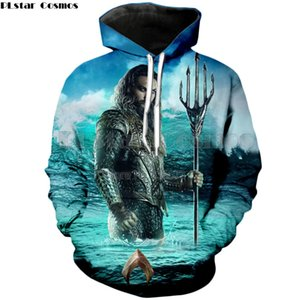 toptan marka giyim 2018 yeni moda erkekler 3D hoodies süper kahraman film Aquaman baskı Unisex rahat Kapüşonlu Sweatshirt HW-2