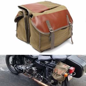 Bolsa de sillín de motocicleta verde oliva Herramienta de viaje Caja de bolsa de lona de almacenamiento Motocicleta Universal