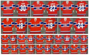 Vintage Montreal Canadiens Jersey 5 Guy Lapointe 1 Jacques Plante 12 Dominic Moore 2 Doug Harvey 16 Henri Richard BobGainey Hockey su misura
