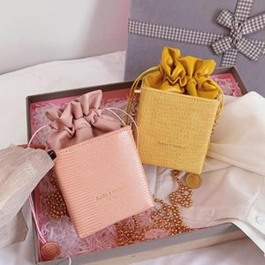 Stone pattern Mini Box Drawstring Bucket bag 2020 New High-quality Leather Women's Designer Handbag Chain Shoulder Messenger Bag