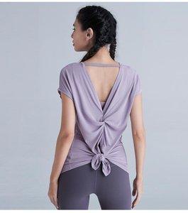 Новая короткие рукава LU-11 сплошного цвет сексуальная красивые обратно раскол йога одежды танец одежды спорта работает модальная быстросохнущий фитнес одежду W