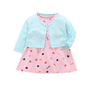 Langarm Mantel + liebevolle Herz Kleid Strampler Für Baby Mädchen Kleidung Set Sommer Neugeborenen Outfit Neugeborenen Anzug 2019 Mode Kostüm Y19050801