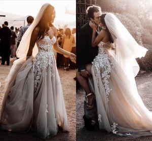New Summer Country Style 3D Appliques floreali Abiti da sposa A-Line Abiti da sposa bohémien per Spose robe de mariée BC2024