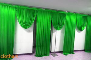 6m genişliğinde swags düğün stilist arka Parti Perde perdeler Kutlama Sahne Performansı Arkaplan Saten Örtü duvar 67 draps tasarımlar