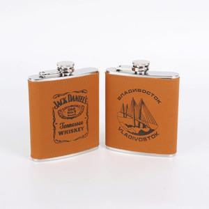 2018 NOUVEAU 7 / 8oz jaune en cuir d'unité centrale Enveloppant flacon de whisky 304Acier inoxydable en acier d'alcool jack hip hip ensemble avec boîte cadeau noire LPPUNK