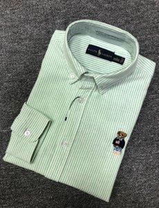 Дизайнер POLO Печать Мужские рубашки Медвежонок Мода Элегантный длинным рукавом Штамповка печати Stand Collar рубашки платья мужские рубашки