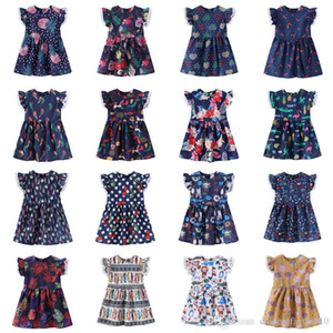 Ins Baby Girls Dress Lace Flying Sleeves New Summer Flower Impreso Lovely Cartoon Princess Party Kids Girls Dress