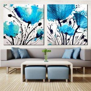 Ev Dekorasyon Modüler Fotoğraf İçin Salon Duvar Boyama 2 Panel Modern Çiçek Bule Baskı Özet Tuval Çerçevesiz Yağı