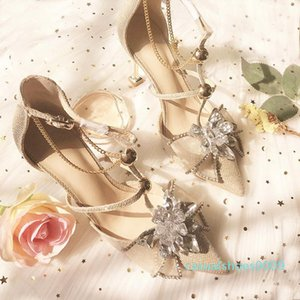 Goddess2019 Bring Buckle One Genuine Leather Sandals Fairy Bow High Fine With Sharp Wedding Shoes Crystal Woman c09