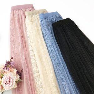 Кружева юбка Нежный Ветер Малый Фея марли юбка плиссе юбка Леди Темперамент Половина тела Longuette