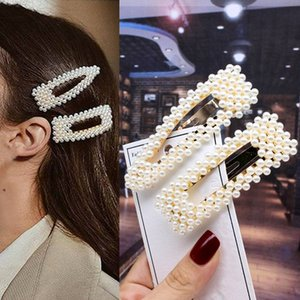 2pcs mujeres de la manera las pinzas de perlas dulce elegante del ornamento del pelo de las horquillas de Headwear accesorios de la venda del pelo Barrettes