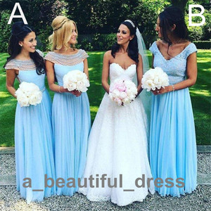 Cap-Sleeves Lace beaded top bridesmaid dresses v-neck a line chiffon plus size maid of the honor evening gowns party dress BD8889