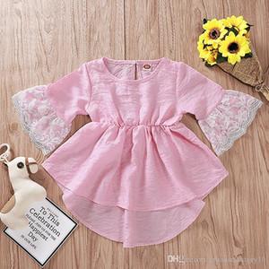 Manica corta vestito rosa bambino irregolare del merletto della ragazza del bambino di estate di nuovo Kid principessa Abiti Ins 2019