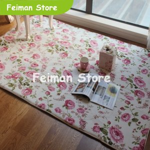 Romantic Floral Room Floor Mats,Sweet Rose Print Carpets For Living Room Modern, Shabby Style Flower Rug Decorative
