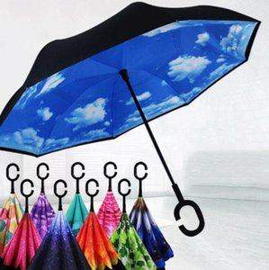 Creativo invertito ombrellone pioggia manico lungo Umbrella inversione antivento doppio strato invertito Chuva Umbrella C-Hook Hands LXL1196-L1