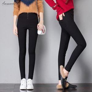 Black Trousers Pants Pencil Womens Spring Fall Fleece Button Pocke Pant Women Slim Ladies Jean Trousers Female High Waist Pant