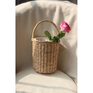 16x20CM Cylindrical Corn Straw Hand Bag Women Vacation Travel Bag Bucket a5436