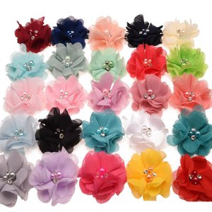 33 colori Chiffon fiori con strass perla centro fiore artificiale tessuto fiori bambini accessori per capelli fasce per bambini fiore
