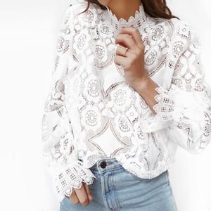 Bbwm mulher moda za classic palace estilo verão blusa de renda branca high street pétala de manga sexy mulheres camisas curtas y190822
