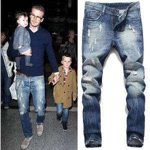 Novo designer 2020 Slides Mens 2020 Yuxury Designer Calças Calças Skinny rasgada Destruído estiramento Slim Fit Calças com furos para Homens