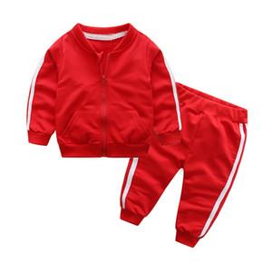 2018 가을 패션 여자 아기 옷 면화 긴 소매 솔리드 지퍼 재킷 + 바지 2 개 비비 운동복 아기 소년 의류 세트