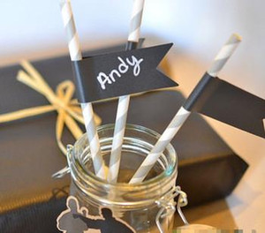 Vinyl Chalkboard Sticker Labels Chalk board Flags Decals for Cup Cake Toppers Paper Straws Party Wedding Decoration Gift Tag