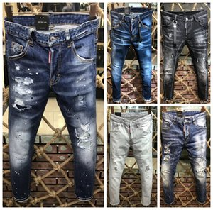 Мода Мужчина джинсы Итальянской роскошь Проблемных Mens тонкой повседневные брюки Эластичные брюки светло-синего Fit Сыпучего хлопок Denim Brand Jeans Мужской