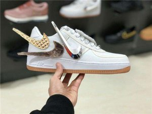 Travis Scott and Air Force 1 Designers Velcro hook Flashing nike logo sail Change hook hip-hop Low Pure white canvas shoes sneakers