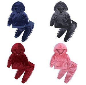Kids Clothes Boys Girls Velvet Suit Spring Autumn winter Plus Baby Child Warm Sweater Pants Two Sets 80-140cm lxhua