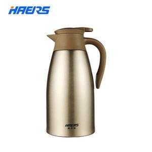 Haers 2l Termo de acero inoxidable Té de café Café Jarra Doble pared Vacío aislado con botón de presión Botella de agua Q190430