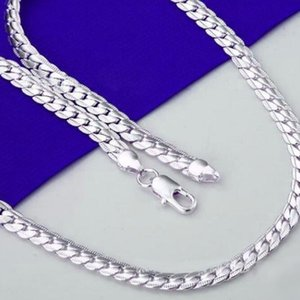 designer jewelry S925 sterling silver plated necklace full side necklace 5mm wide neclace for women hot fashion