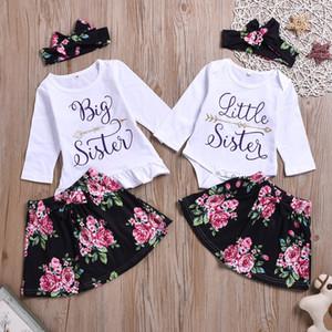 Crianças menina roupas irmã 3 peça define manga comprida flor impressão camisa e saia com bandana menina Lolita conjuntos de roupas