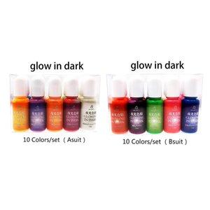 10 Unids / set Luminoso Epoxi de Alta Concentración Resina UV Colorante Pigmento Colorante Pigmento Hecho a mano DIY Fabricación de Joyas Accesorios M4YF