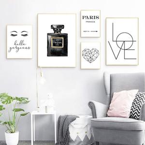 Pintura montón pared de la manera de la caligrafía imágenes del arte de la lona Pintura dormitorio decoración de la pared de la pestaña Perfume Amor Hola magnífico de la cita Vogue ...