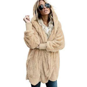 Her iki taraf da Jacket Kadınlar Açık Dikiş Kapşonlu Coat Bayan Uzun Kollu Bulanık Ceket Yeni Moda İlkbahar Faux Kürk Sıcak kış mont