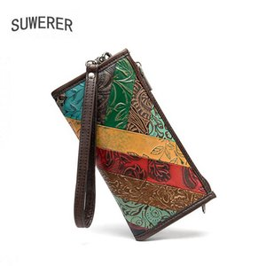 SUWERER New Women Genuine Leather bag real cowhide leather shoulder bag women fashion clutch crossbody bags for