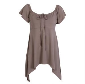 Venta de la manera ocasional de las mujeres de manga corta floja verano atan para arriba tapas de la camiseta femenina irregular sólido del verano Tops más tamaño Color
