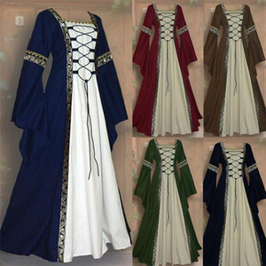 Medieval Square-collared Long-sleeved Dress Halloween Party Princess Cosplay Lace-up Long Dress Retro Maid Clothing