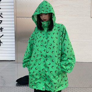 2019 New Fashion Women Coat Moon Print Lapel Zip Hooded Long Sleeve Drawstring Wind Breaker Casual Loose Coat for Female