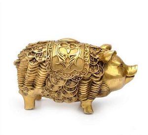 Manualidades Cobre Bronce Latón Feng Shui Decoración del hogar lucky money cerdo Joyería de cobre regalos artesanía talismán oficina decoratioN