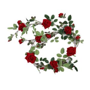 70 pulgadas de flor artificial Garland pared interior Mirro Plantas decoración del hogar franela de la vid de Rose para la boda Arco Backdrops