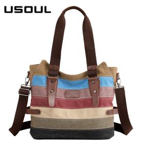 USOUL Vintage Canvas Sac bandoulière femme Femme rayé coloré sacs à main grande capacité arc-en-Casual Sac fourre-tout commercial Totes