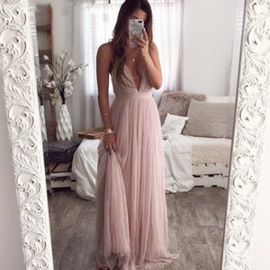 2020 Sexy v-neck backless summer pink dress women Elegant lace evening maxi dresses female Holiday long party dress ladies