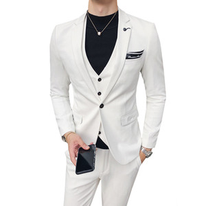 Men Suit Jacket with Vest and Pant Business Office Groom Party Wedding Banquet Solid Suit 3 Piece Set male suits blazer
