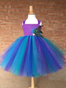 Vestono piuma del pavone del vestito dal tutu bambini Crochet scintillio sfera di Tulle con abiti Costume cinghie bambini festa di compleanno
