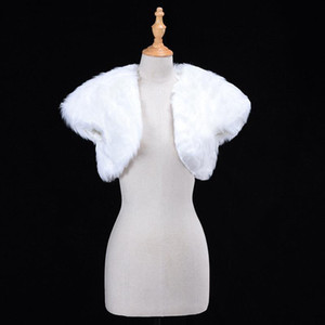 White Wedding Bolero Faux Fur Bridal Wraple Giacca Wrap Giacca Inverno Sera Party Manica Corta Shrug Bolero Cappotto Accessorio femminile CPA1274