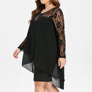 Moda Kadınlar Casual Artı boyutu Şeffaf Dantel Kol Yüksek Düşük Hem O-Boyun Salıncak Elbise Sümer Şık Robe For Ladies Faldas de mujer 2.