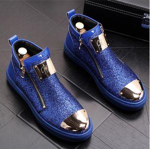 Herren Booties hohe Schuhe warme Baumwollschuhe England Martin Stiefel Pailletten Flut Herren Stiefel 38-44 C11